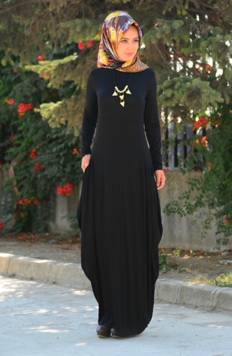 f18fbd7f013e7 Tesettür Elbise 4049-02 Siyah