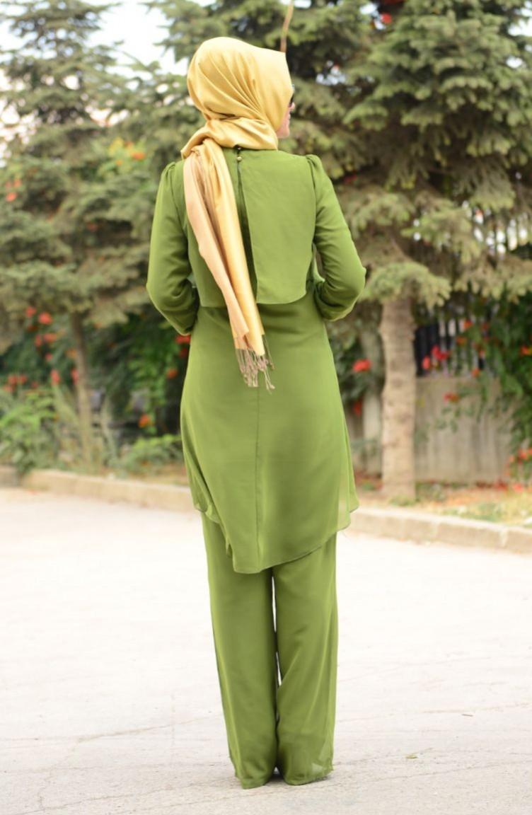 Fıstık yeşili hırka pantolon ve şapka takımı