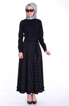 Sefamerve, White-Light Black Skirt 2414-03