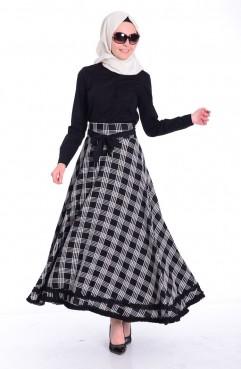 Sefamerve, White-Black Skirt 2414-02