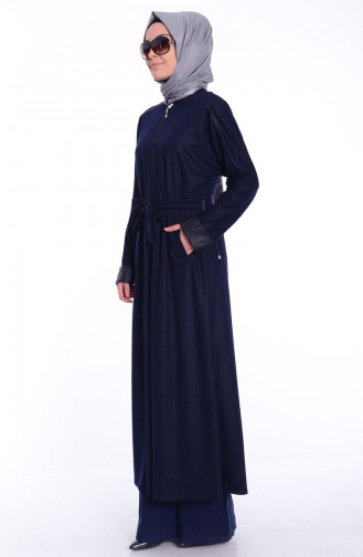 Abaya Islamique 0445-03 Bleu Marine 0445-03
