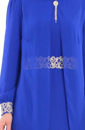 Tesettür Elbise FY 52221-04 Saks