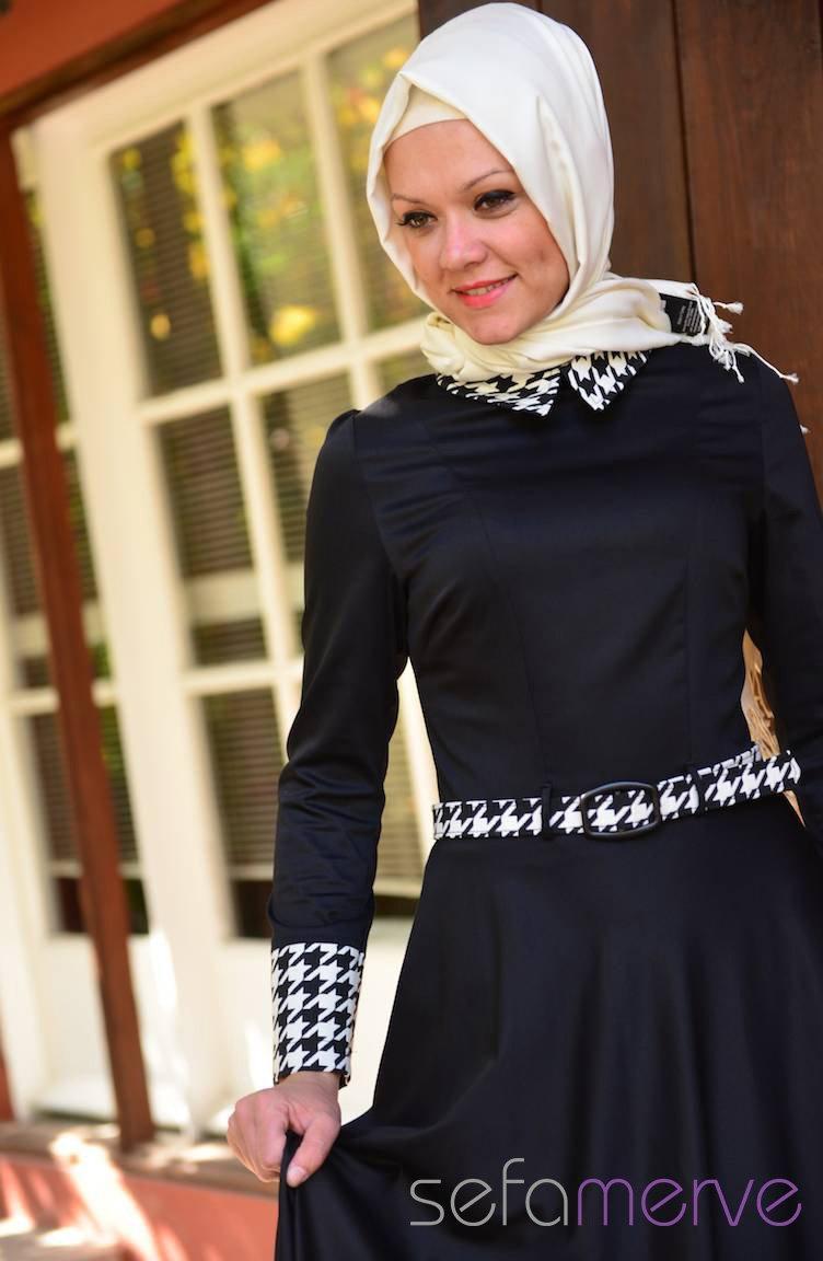 c564ab35dfd98 Elbise Zerafet Tesettür 5020-03 Siyah-Beyaz