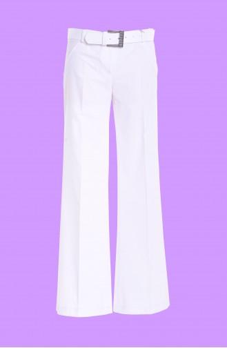 Pantalon a Ceinture 3068-08 Blanc 3068-08