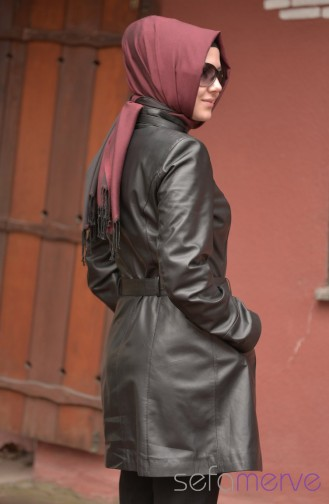 Long Leather Coat 8010-01 Black 8010-01