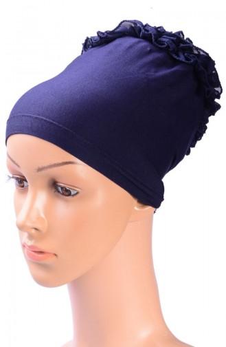 Bonnet mit Falbel 05 Dunkelblau 05