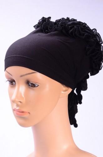 Bonnet mit Falbel 03 Schwarz 03