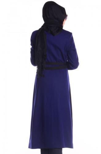 Şükran Pardessus Cape 35643-05 Bleu Roi Noir 35643-05