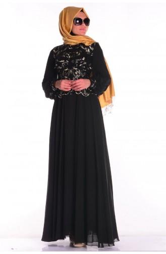 Sefamerve Abiye Elbiseler PDY 5203-01 Siyah Gold 5203-01