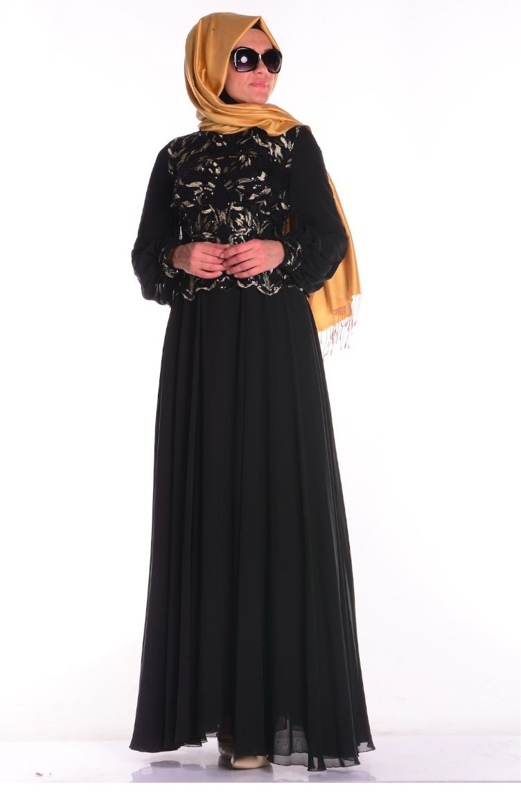 b68aeafb22652 Black Islamic Clothing Evening Dress 5203-01 ...