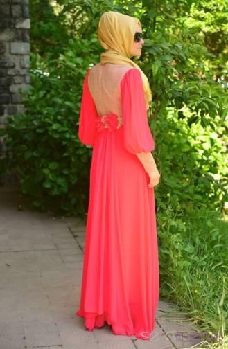 Sefamerve Evening Dress PDY 4246-02 Pomegranate Flower 4246-02