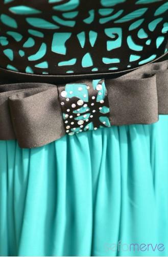 فستان شيفون سهرة مُزين بفيونكا 4722-02 لون أزرق بترولي 4201-02