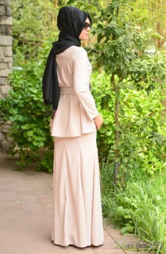 Sefamerve Dress Models 40848 03 Beige 40848-03