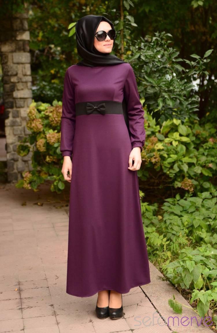 Dilber Tesettür Elbise Anne Kız 4593 02 Mor | Sefamerve