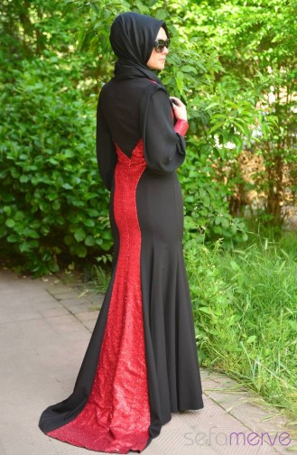 Sefamerve Evening Dress PDY 4722-03 Black Red 4722-03