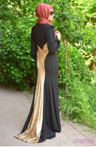 Sefamerve Evening Dress PDY 4722-02 Black Yellow 4722-02