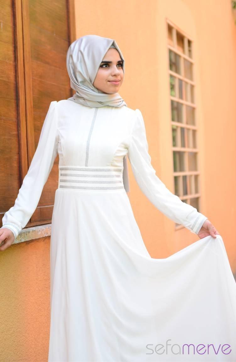 684bc8176083f Yazlık ZRF Tesettür Elbise 9045-11 Beyaz