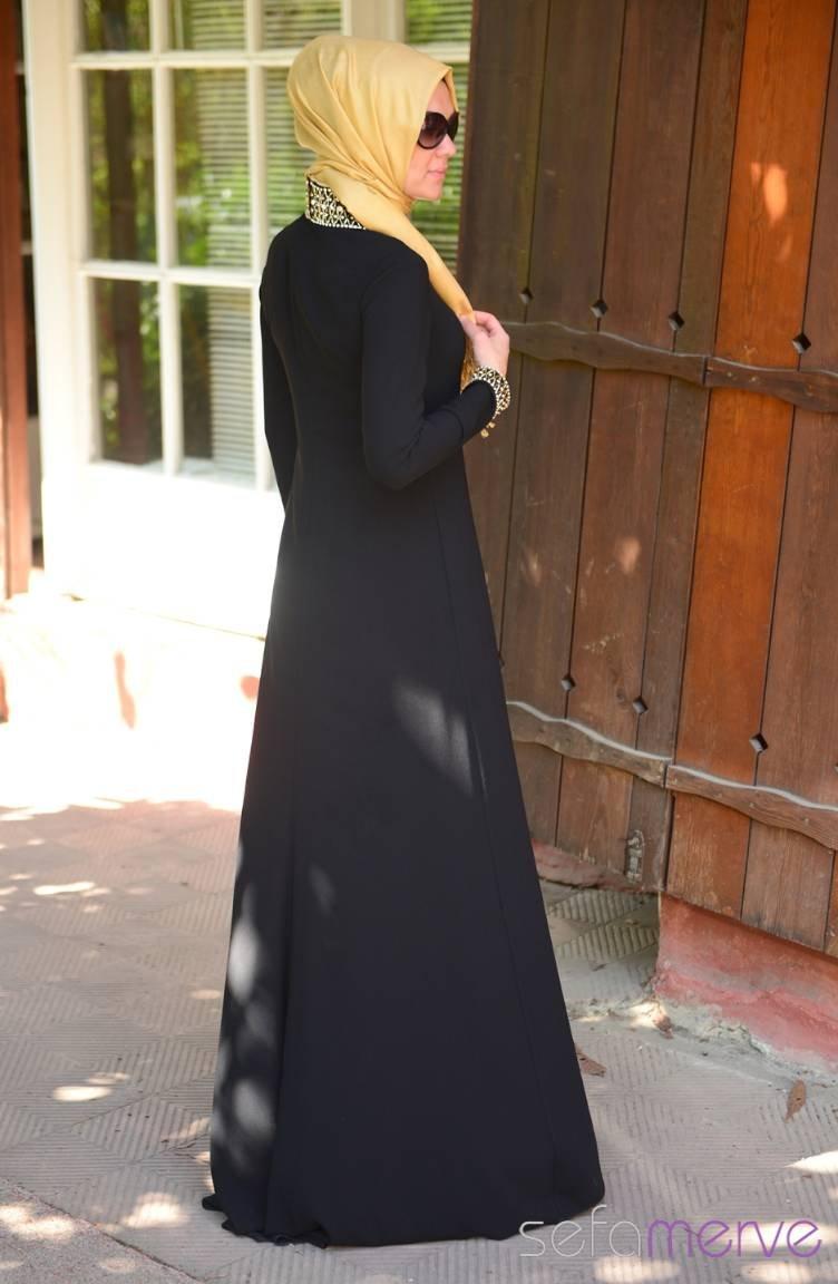 6cac2dcd0917f Famelin Tesettür Abiye Elbise 6050-01 Siyah