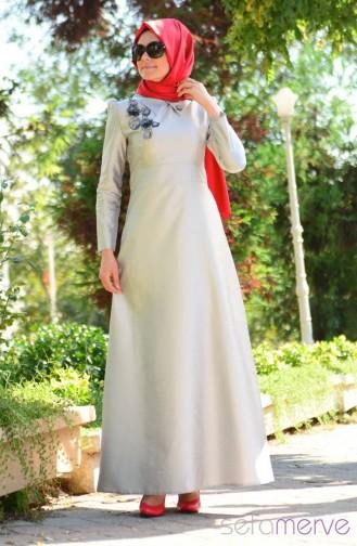 Tesettür Abiye Elbise Pembe Pırıltılar 3641-02 Gri Sefamerve