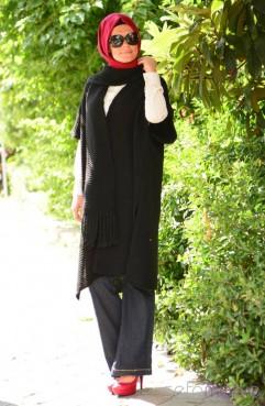 Sefamerve, Tesettür Triko Uzun Hırka 7020-02 Siyah