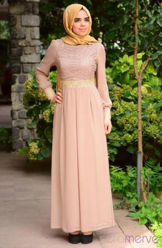 Tesettür Elbise FY 51983D-02 Vizon