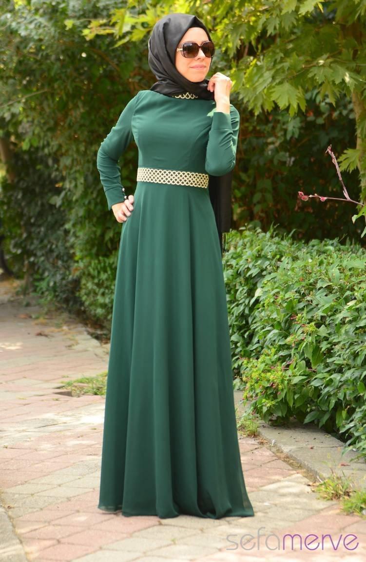 00a5d0231f85d Green Islamic Clothing Evening Dress 701054-04