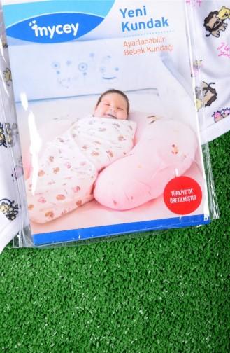 Yeni Kundak Ayarlanabilir Bebek Kundağı Beyaz Pembe