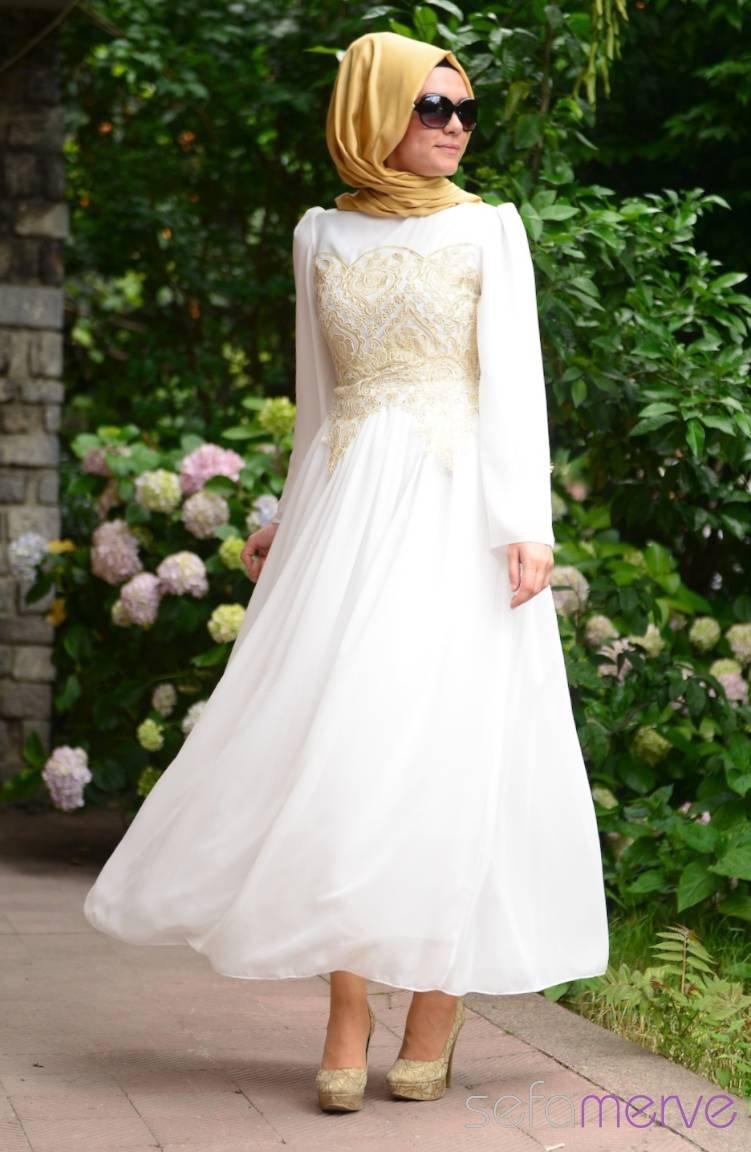 0dc816f331397 Yazlık ZRF Tesettür Elbise 9020-02 Beyaz