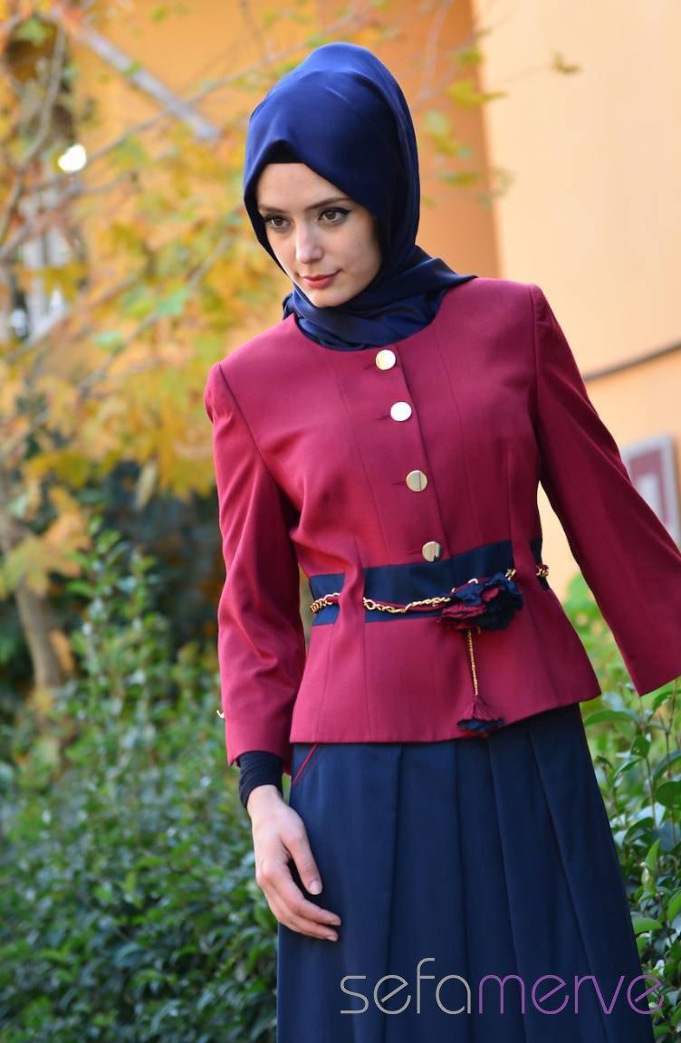 e88af1036570 Hatunca Jacket Skirt Set 4302-02 Claret Red Navy Blue 4302-02