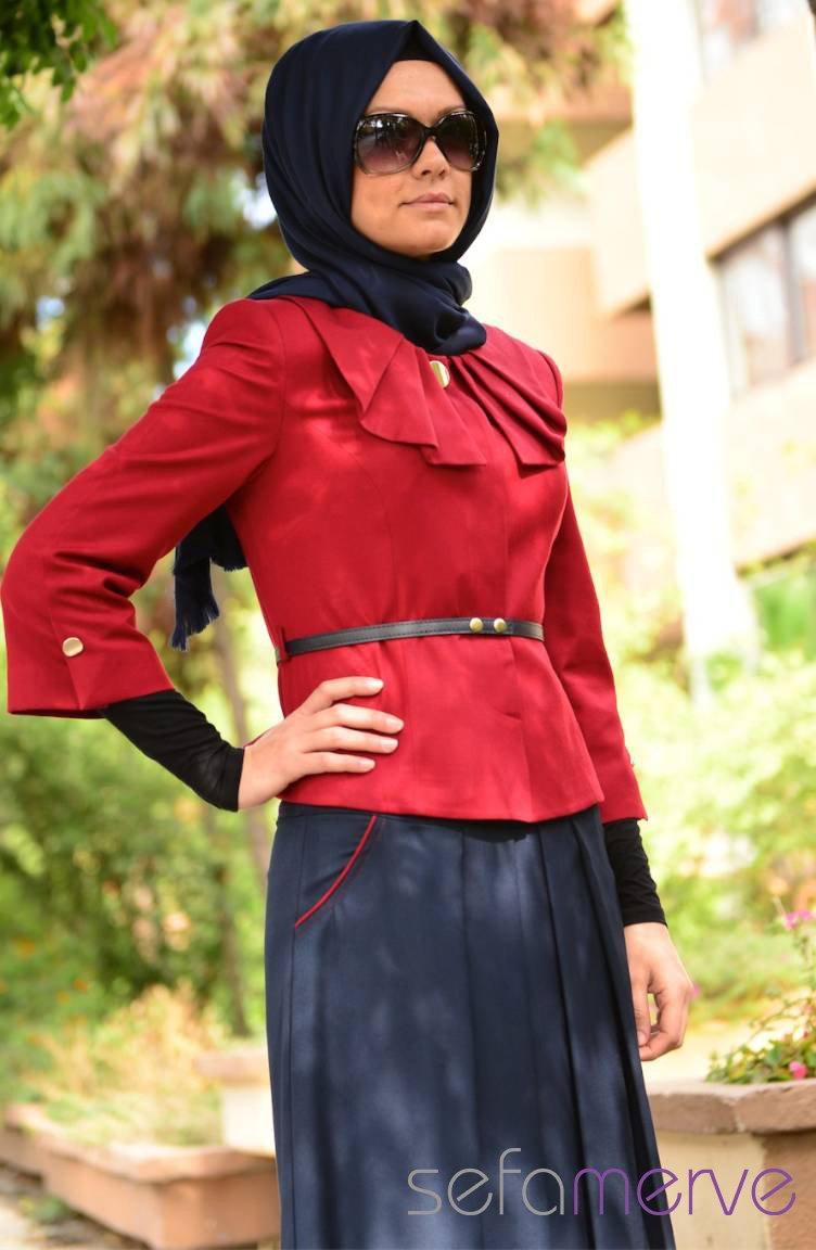 7227f076a225 Hatunca Jacket Skirt Set 4360-02 Claret Red-Navy Blue 4360-02