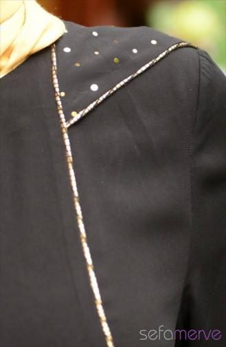 عباءة موصول بقبعة بتصميم سحاب7079-04 لون أسود 7079-04