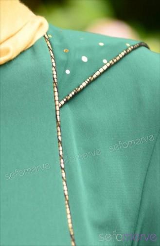 عباءة موصول بقبعة بتصميم سحاب 7079-02 لون أخضر 7079-02