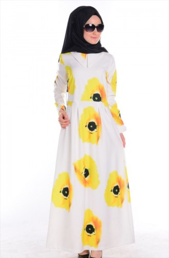 SUKRAN Patterned Dress 4165-01 Yellow Black 4165-01