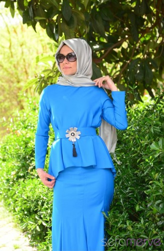 Sefamerve Dress Models 40848 01 Blue 40848-01