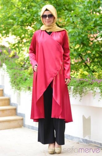 Filiz Yetim Cardigan Tunic 8242-01 Burgundy 8242-01