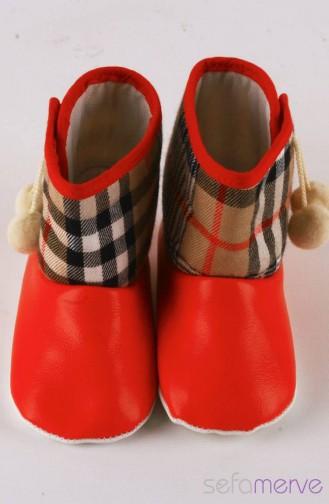 UCS Kare Desenli Aksesuarlı Kırmızı Bebek Panduf 0035-03