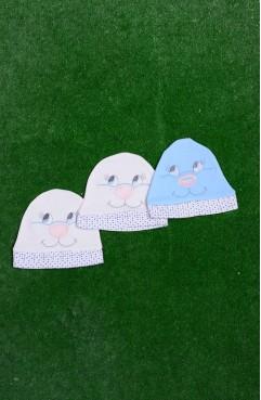 Sefamerve, Üçlü Paket Bebek Şapka 3001-01 Mavi