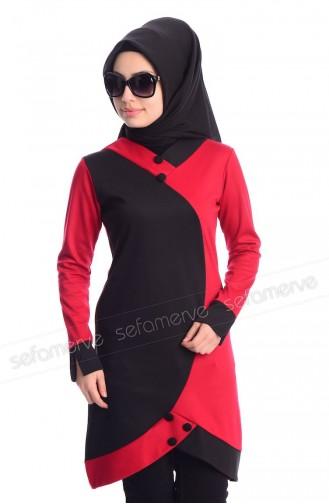 Hijab Tunic 0566-17 Red Black 0566-17