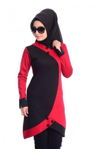 Tunique Islamique 0566-17 Rouge Noir 0566-17
