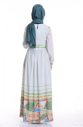 Baskılı Krep Elbise 0030-02 Yeşil