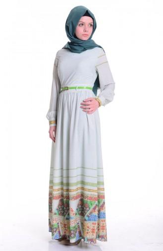 Baskılı Krep Elbise 0030-02 Yeşil 0030-02
