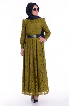 Sefamerve Kemerli Pileli Elbise 1741-02 Yeşil