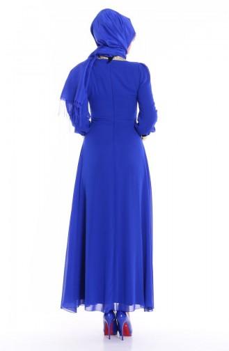 Saxon blue Islamic Clothing Evening Dress 2398-01