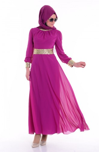 Fuchsia Islamic Clothing Evening Dress 2398-02