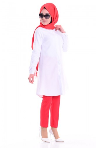 Tunik Gömlek 0694-04 Beyaz Sefamerve