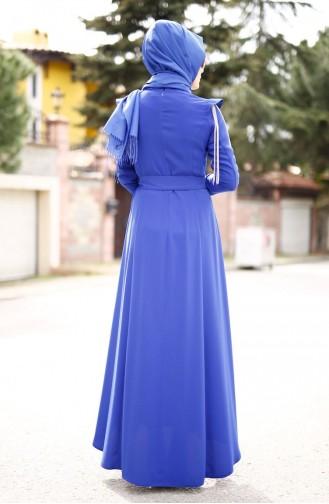 Kol Detaylı Krep Elbise 4179-01 Saks