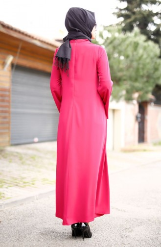Robe Crêpe avec Collier 4181-03 Fushia 4181-03