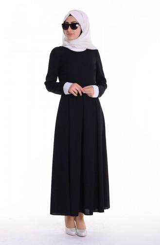 Gömlek Yakalı Elbise 4186-01 Siyah Sefamerve