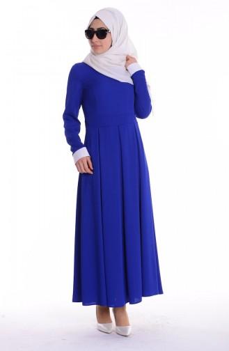 Gömlek Yakalı Elbise 4186-02 Saks