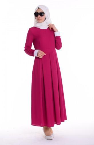 Gömlek Yakalı Elbise 4186-03 Fuşya Sefamerve